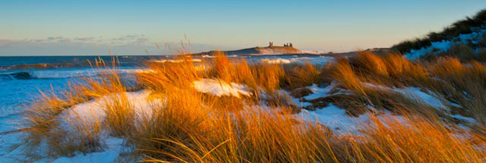 Dunstanburgh Castle in Snow