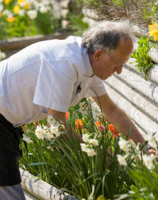 Chef Picking flowers at Battlesteads