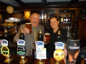 Owner of Battlesteads Hotel and Restaurant Richard Slade celebrating Cask Ale Week (28 Sept to 7 Oct) with Claire Charlton from Allendale Brewery
