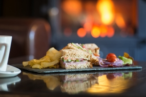 Sandwiches & Crisps by the Fire